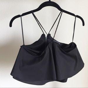 Zara black ruffled crop top.